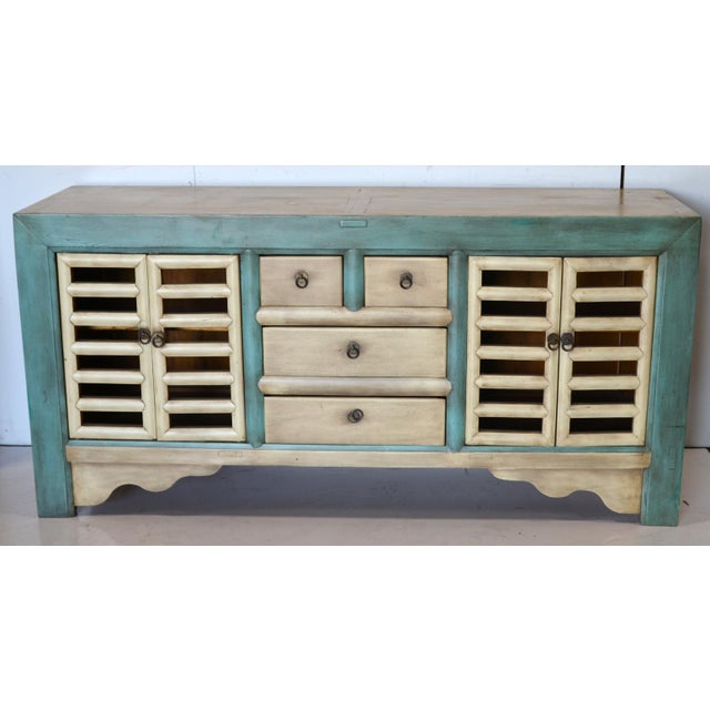 Green Vintage Chinese 4 Door Buffet For Sale - Image 8 of 8