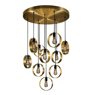 Brushed Brass with Satin Black Halo Chandelier For Sale