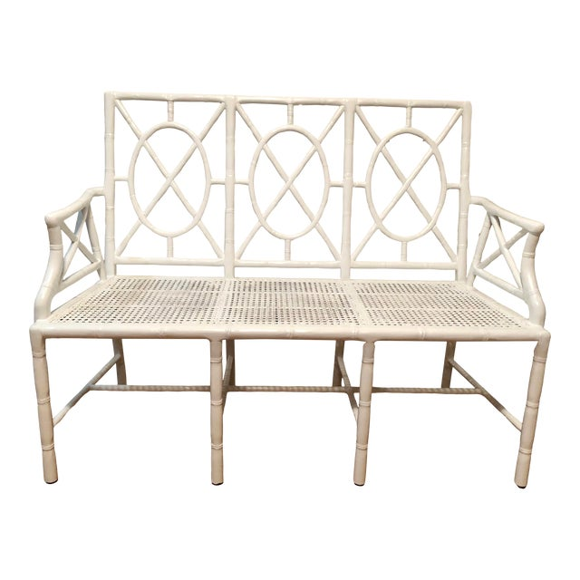 1970s Chinese Chippendale Faux Bamboo Wood & Cane Bench Settee For Sale