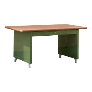 1940s Shaw Walker Panel Leg Tanker Table, Refinished in Army Green For Sale