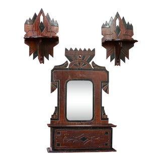 1930s Folk Art Painted Wood Decorative Hallway/Shave Mirror and Petite Wall-Mounted Shelves - 3 Pieces For Sale