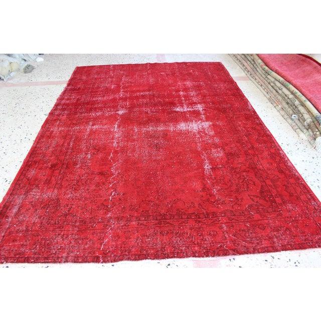 Red Overdyed Vintage Turkish Rug - 7′ × 10′10″ - Image 2 of 8
