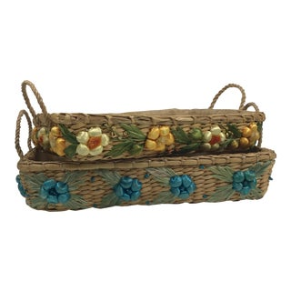 Vintage Wicker and Raffia Basket Trays Cassarole Liners - a Pair