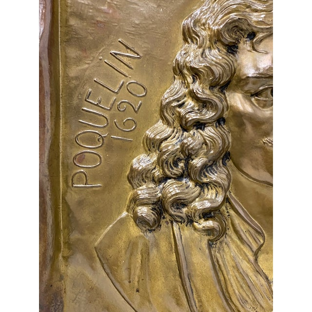 1900 - 1909 Handmade Brass Plaque of Poet Moliere For Sale - Image 5 of 8