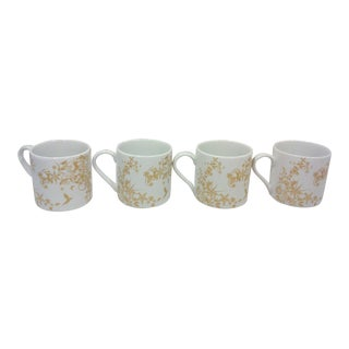 Gold and White Porcelain Winter Stag Mugs - Set of 4