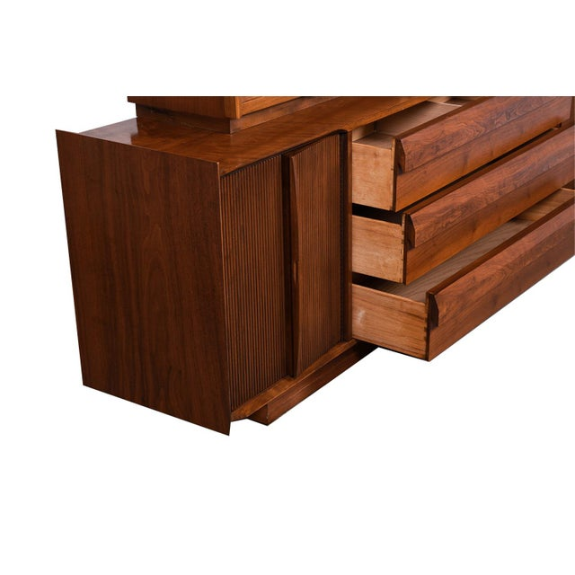 Mid Century Lane First Edition Walnut Buffet Credenza Hutch For Sale - Image 11 of 13