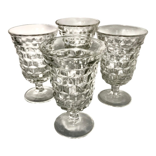 Fosteria American Crystal Clear Goblets - Set of 4 For Sale