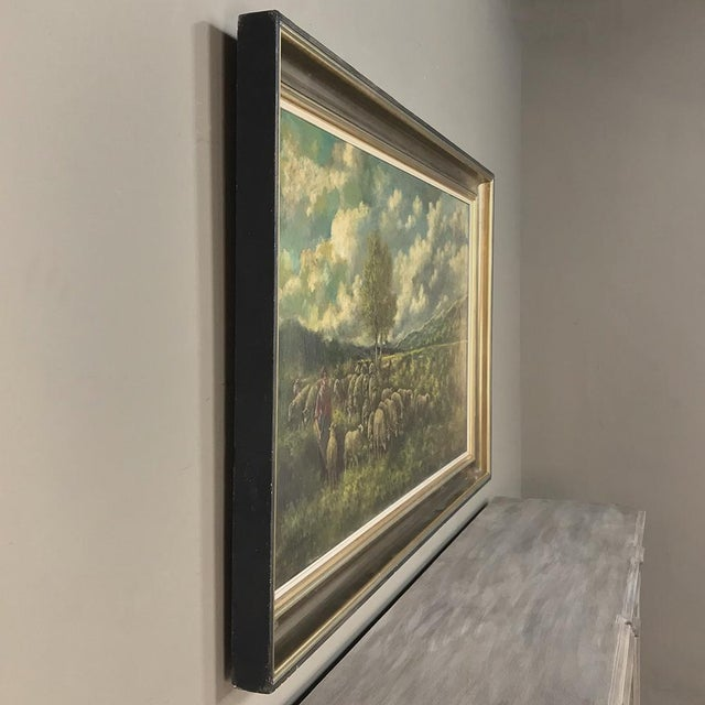 Realism Grand Framed Oil Painting on Canvas by G. Schouten For Sale - Image 3 of 12