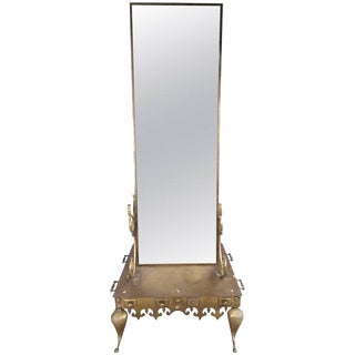 Vintage Brass Double-Sided Dressing Mirror For Sale