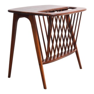 Arthur Umanoff Walnut Occasional Table With Magazine Rack For Sale