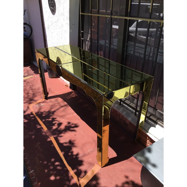 Gold Beveled Mirror Hall Table - Image 4 of 10