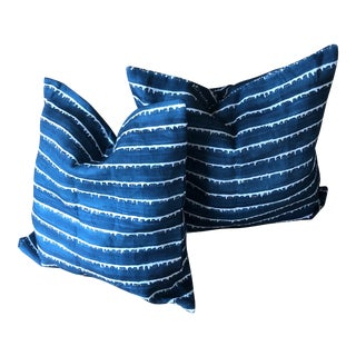 Hand Printed Designer Fabric Pillows - A Pair For Sale