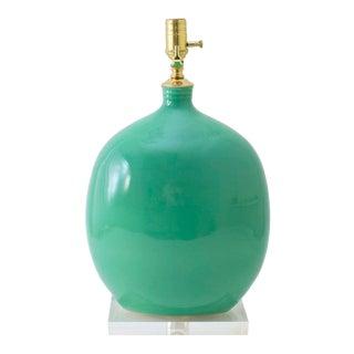 "Paul Schneider Ceramic ""Marfa"" Lamp in Glossy Aqua Marine Glaze For Sale"