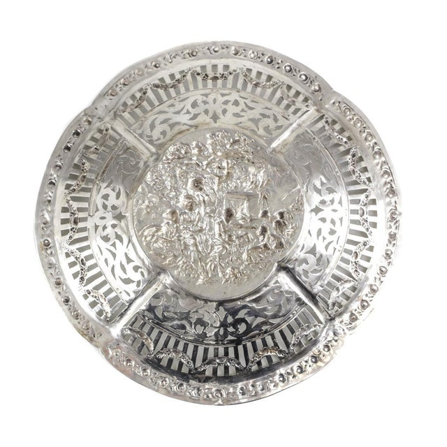 German 800 Silver Pierced Scalloped Repousse Floral Swags Rim Bowl, Circa 1900 - Image 3 of 5