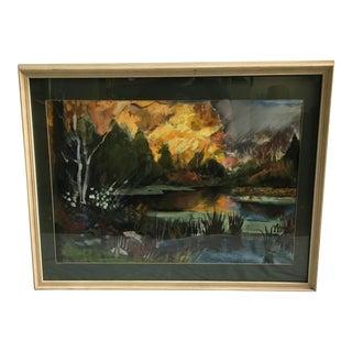 Gorgeous Mountain Pond Watercolor/Gouache
