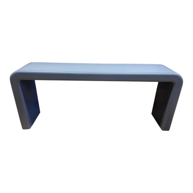 Late 20th Century Karl Springer Style Arch Gray Console Table For Sale
