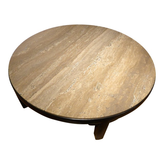 Edward Wormley Cocktail Table with Travertine Top - Image 1 of 9