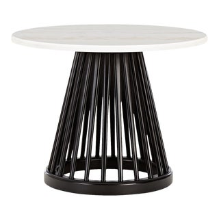 Tom Dixon Fan Table Black Base White Marble Top 600mm For Sale