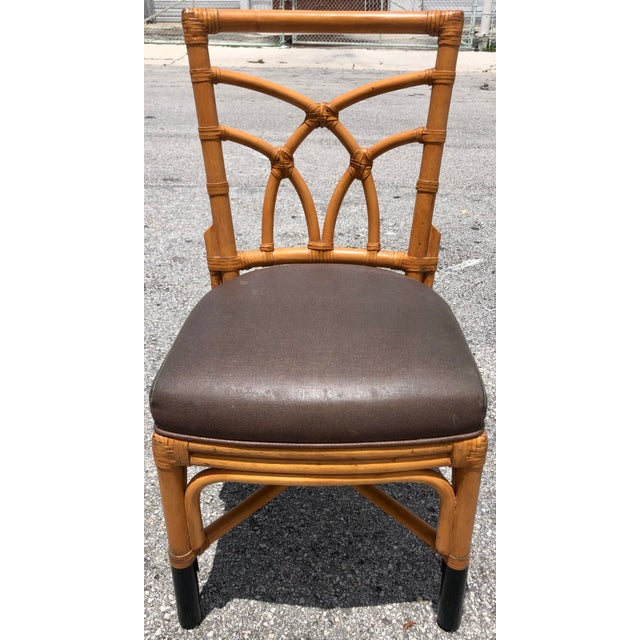 1980s Bamboo & Leather Dining Chairs, S/12 For Sale - Image 5 of 11