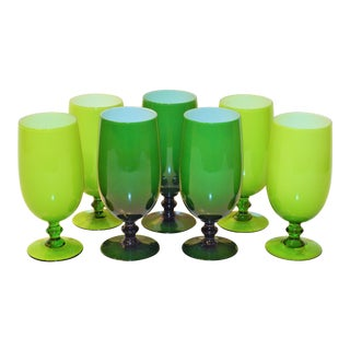 1960s Vintage Carlo Moretti Italian Green Goblets - Set of 7 For Sale