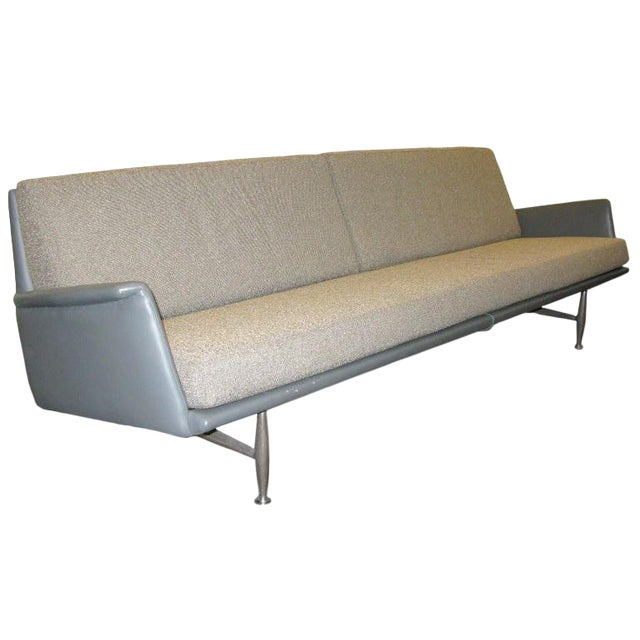 Donald Deskey for Charak 1958 Leather and Fabric Sofa For Sale