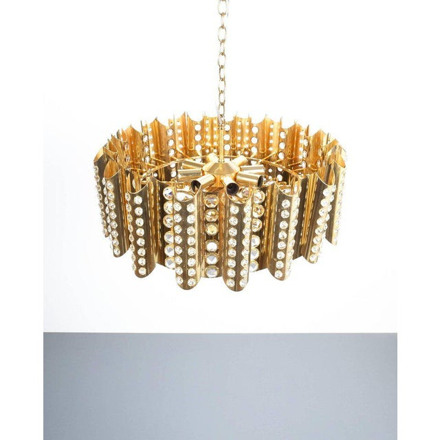 Large Gold-Plated Brass Glass Chandelier Lamp Attributed to Gaetano Sciolari For Sale - Image 9 of 9