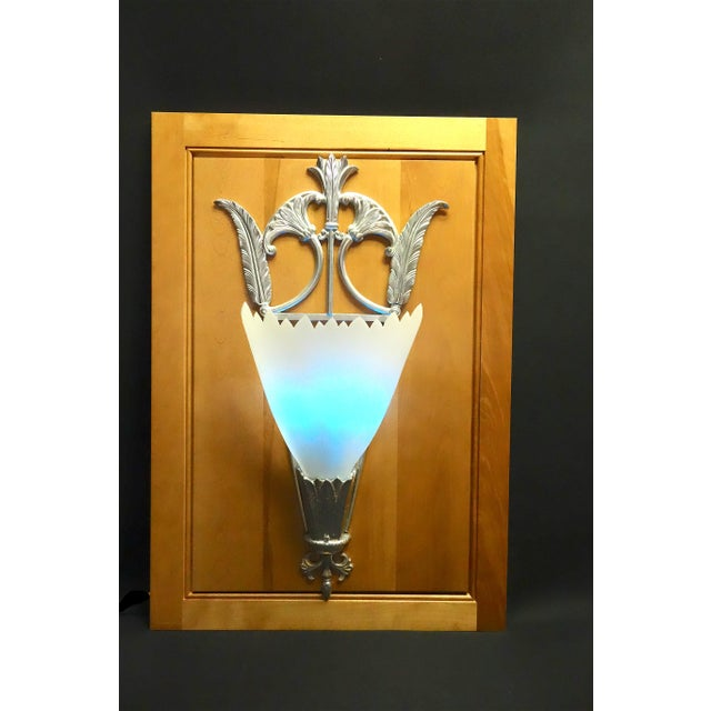 Deco Style Movie Theater Pair of Wall Light Sconces Mounted on Wood Panels For Sale - Image 13 of 13