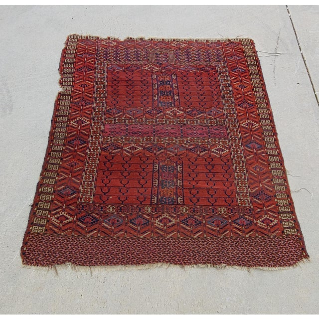 "Vintage Turkoman Tekke Rug-3'11'x5"" For Sale - Image 12 of 12"