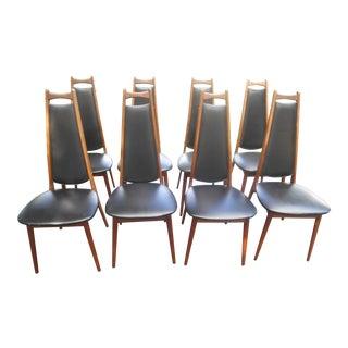 Henry P. Glass for Richbilt Mid Century Modern Danish Walnut Dining Chairs - Set of 8 For Sale