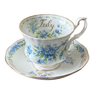 1970s Royal Albert July Forget Me Not Tea Cup and Roslyn Saucer For Sale