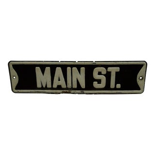 """Vintage Painted Metal Sign """"Main Street"""", 1940 For Sale"""