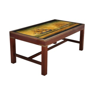 Nautical Mahogany Coffe Table With Glass Print For Sale