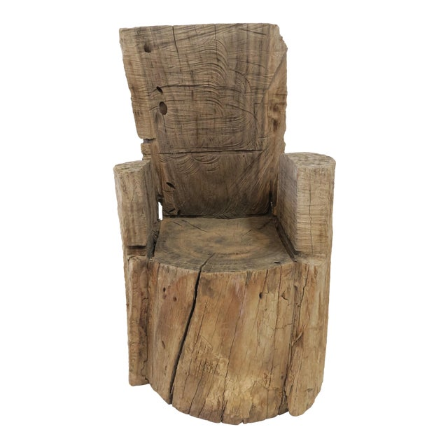 Childs Wood Stump Chair For Sale