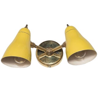 Mid-Century Modernist Yellow Enamel and Brass Sconce