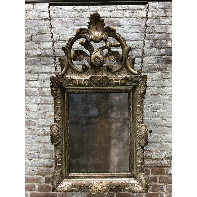 Rare 18th Century Silver Leaf Gilded Louis XIV Mirror For Sale - Image 11 of 11