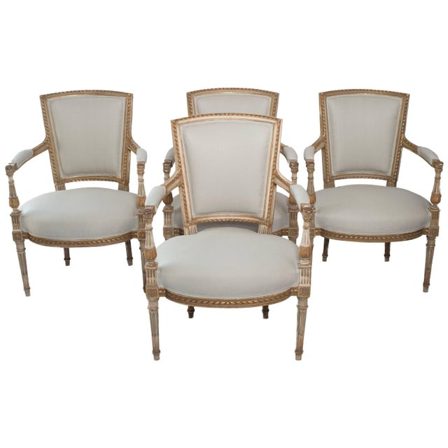 Painted and Gilt Napoleon III Fauteuils - Set of 4 For Sale - Image 13 of 13