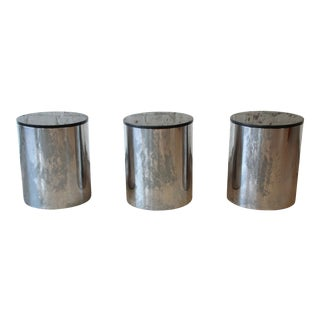 Paul Mayen for Habitat Polished Aluminum and Black Granite Drum End Tables, 3 Available For Sale
