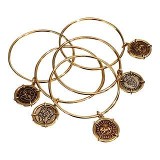 1980s Vintage Gold Bracelet Bangle & Coin Charms- Set of 5 For Sale