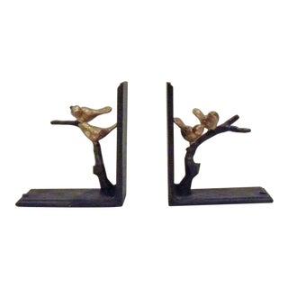 1960s Mid Century Vintage Gold Bird Bookends - a Pair For Sale