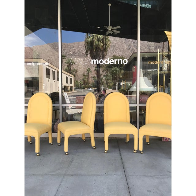 A set of four patio dining chairs perfect for indoor or outdoor use done in real Sunbrella fabric. Modern, classic...