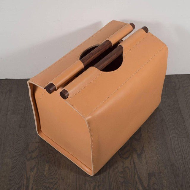 Custom Log Carrier in Hand Rubbed Walnut and Caramel Saddle Leather by Rabitti For Sale - Image 4 of 11