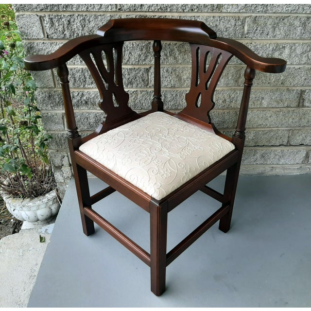 The Bartley Collection Furniture Solid Mahogany Corner Chair Embroidered Linen Upholstered Seat For Sale - Image 13 of 13