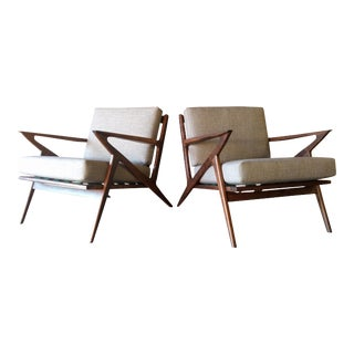 Selig Style Mid-Century Walnut Chairs - A Pair For Sale