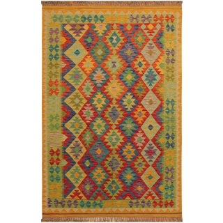 Krystal Gold/Red Hand-Woven Kilim Wool Rug -4'10 X 6'10 For Sale