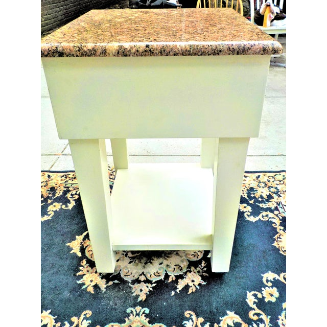 Contemporary Food Preparation Work Table With Granite Top For Sale - Image 3 of 13
