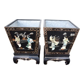 Vintage Chinese Black Lacquered Planters - a Pair For Sale