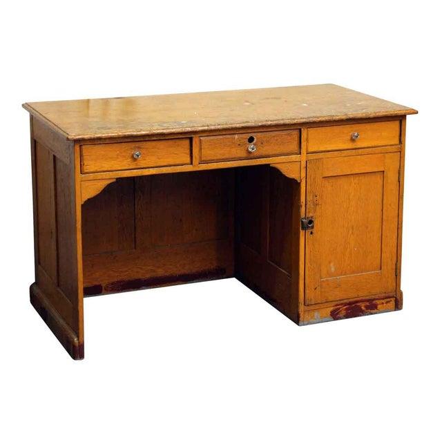 Restorable Oak Wood Library Desk - Image 2 of 8