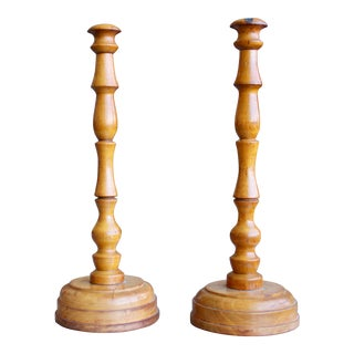 19th Century Treen Fruitwood Candelsticks For Sale
