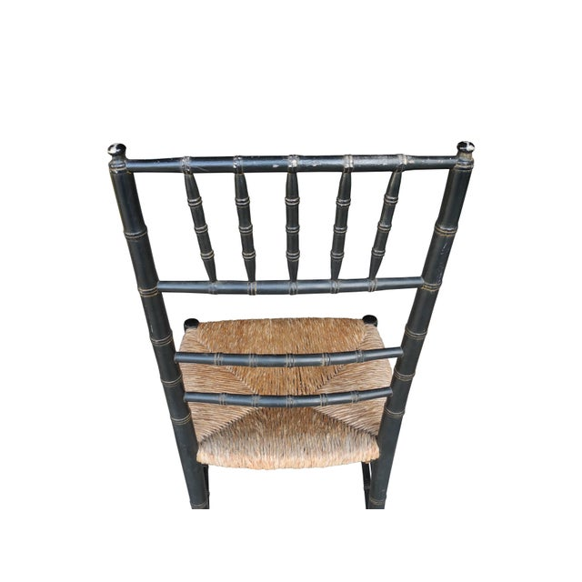 Set of Four Faux Bamboo Wood and Rush Decorative Chairs For Sale - Image 4 of 7