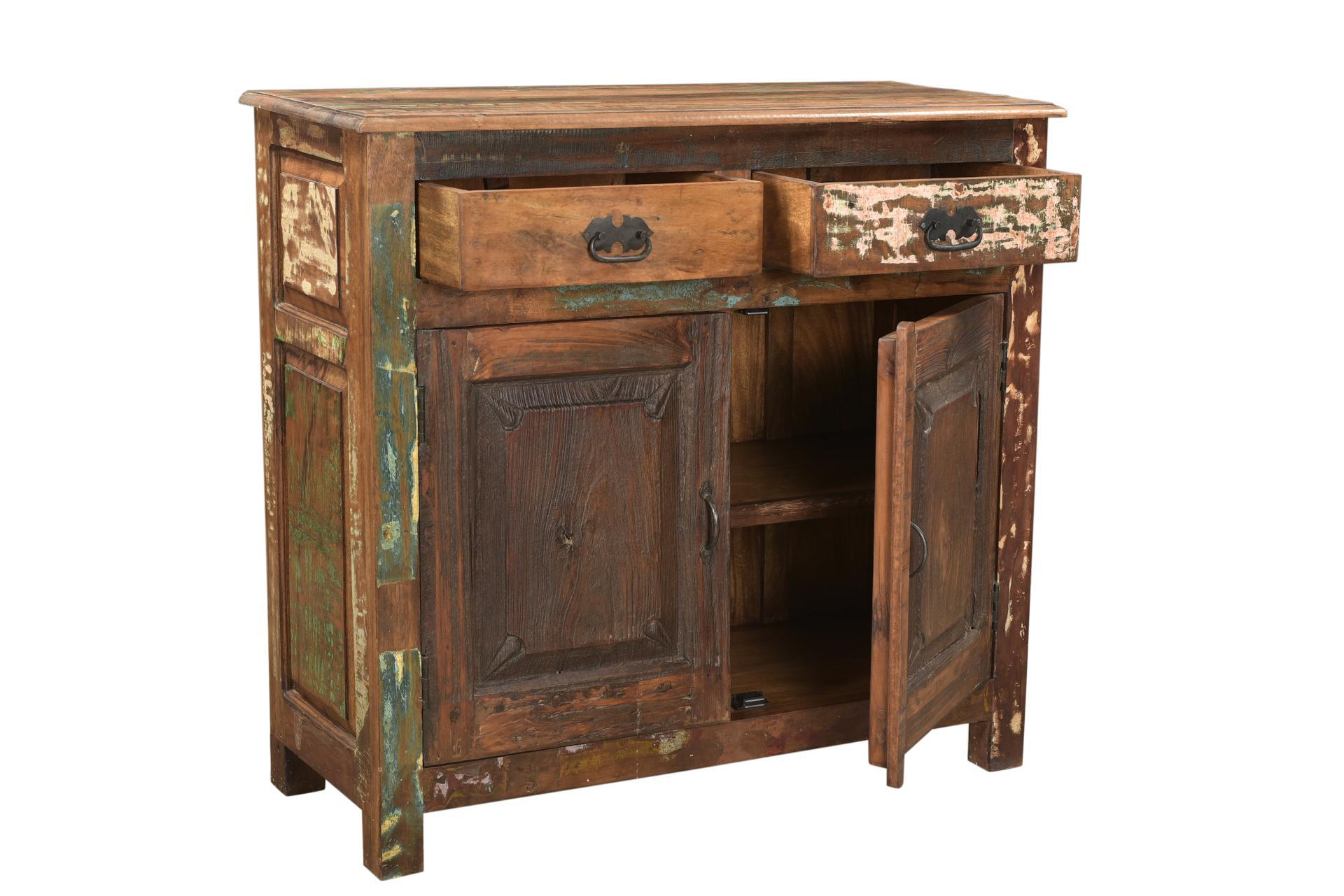 Rustic Two Drawer Rustic Mango Wood Cabinet For Sale   Image 3 Of 7